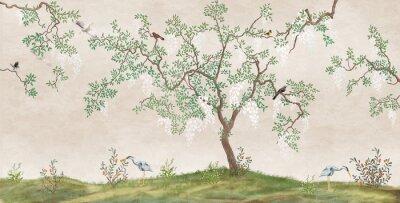 Фотообои Flowering tree in the Japanese garden with birds. Fresco, Wallpaper for interior printing.