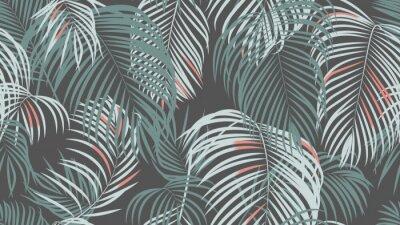Фотообои Foliage seamless pattern, simple palm leaves on dark grey