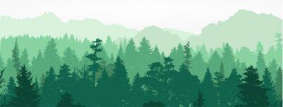 Фотообои Лесной силуэт, векторные иллюстрации.