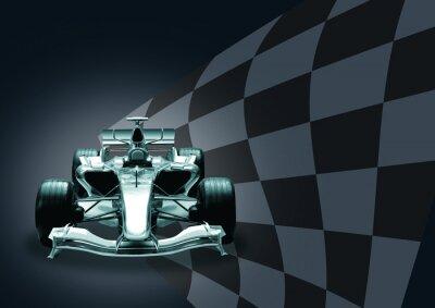 Фотообои Формула 1 автомобиль и флаг