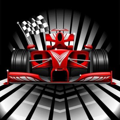 Фотообои Формула-1 гонки автомобилей и клетчатый флаг