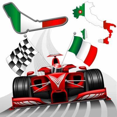Фотообои Формула-1 Red Race Car GP Монца Италия