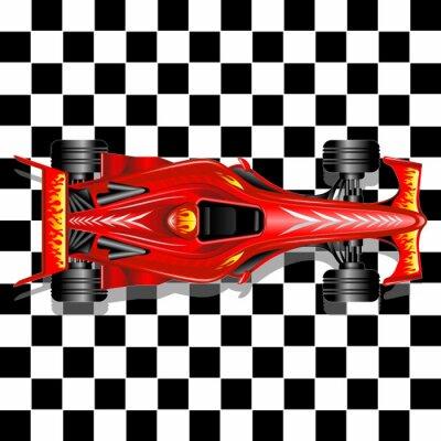Фотообои Формула-1 Red Race Car на фоне Клетчатый