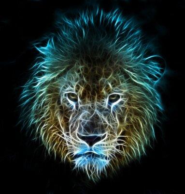 Фотообои Фрактальная цифрового фантазии искусство льва на фоне изолированные