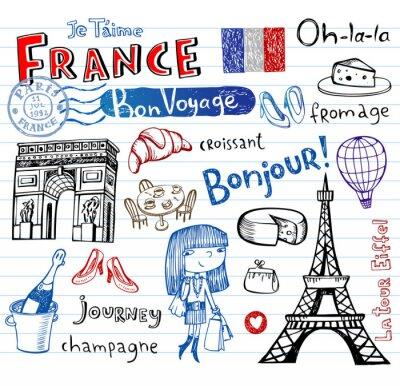 Фотообои France symbols as funky doodles