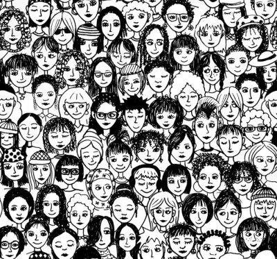 Фотообои Женщины - рисованной фоновые рисунки / Endlosmuster с много различных женщин (черный и белый вариант)
