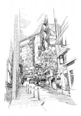 Фотообои Свободная рука эскиз старого аллее города