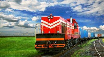 Фотообои грузовой поезд с пространством для текста