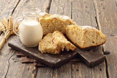 Фотообои свежий домашний хлеб с молоком