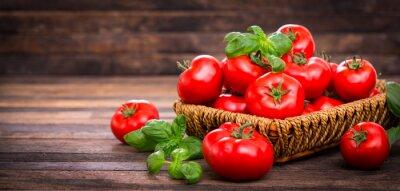 Фотообои Fresh ripe tomatoes and basil in the basket