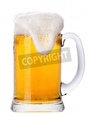 Фотообои Морозный стакан светлого пива набор на белом фоне