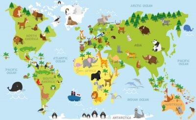 Фотообои Забавный мультфильм карта мира с традиционными животных всех континентов и океанов. Векторная иллюстрация для дошкольного образования и детский дизайн