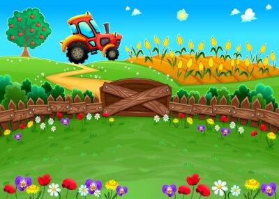 Фотообои Забавный пейзаж с трактором и кукурузное.
