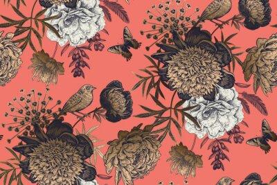 Фотообои Garden flowers peonies on a coral background. Luxury seamless pattern.