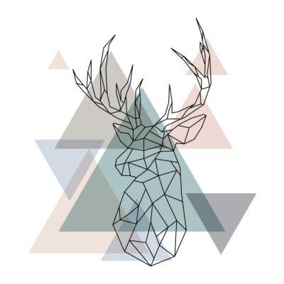 Фотообои Геометрическая иллюстрация северного оленя