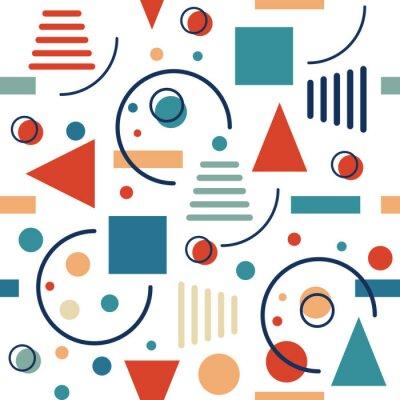 Фотообои Геометрический бесшовный узор. Круги, треугольники и линии. Векторные ретро-дизайн.