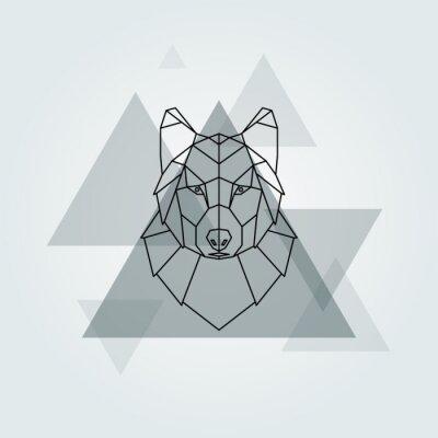 Фотообои Геометрический вектор животных серый волк головы фон.