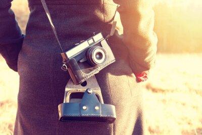 Фотообои Девушка с ретро Урожай камеры.