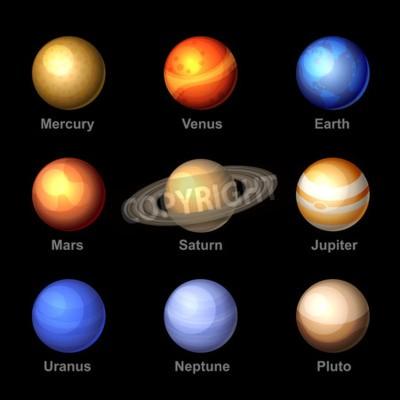 Фотообои Глянцевые цвета планет Солнечной системы икон. Вектор.