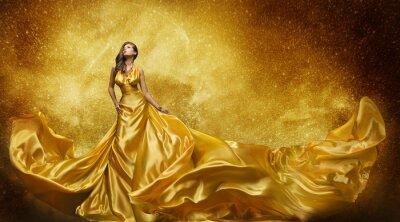 Фотообои Gold Fashion Model платье, женщина Golden Silk платье Измельчитель Ткань