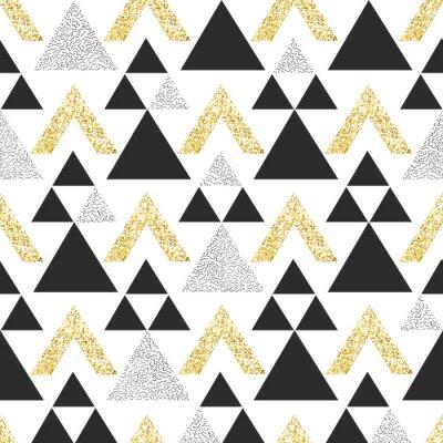 Фотообои Золотой геометрический фон треугольника. Абстрактный бесшовные модели с треугольниками в золоте и темно-серый.
