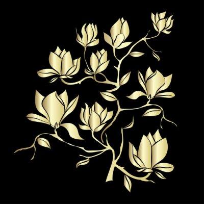 Фотообои Золотой цветущие ветви Магнолия на черном фоне векторные иллюстрации