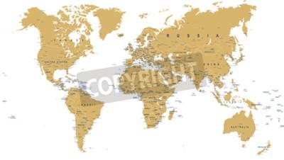 Фотообои Золотая карта мира - границы, страны, города и глобусы - иллюстрация