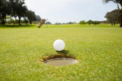 Фотообои Мяч для гольфа на краю отверстия