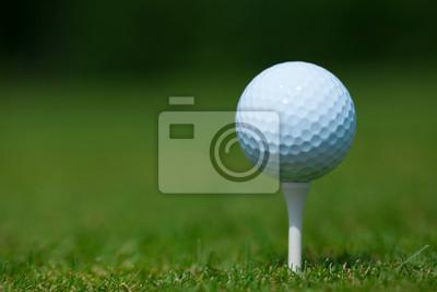 Фотообои мяч для гольфа на белом тройник с зеленой траве в фоновом режиме