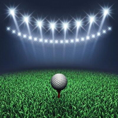 Фотообои Мяч для гольфа на траве и прожекторами, турнир по гольфу, Поле для гольфа