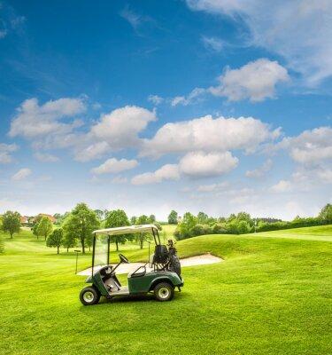 Фотообои Гольф корзина на поле для гольфа. Зеленые поля и пасмурно голубое небо