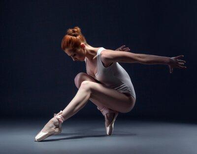 Фотообои Изящные тонкие балерина танцует в студии