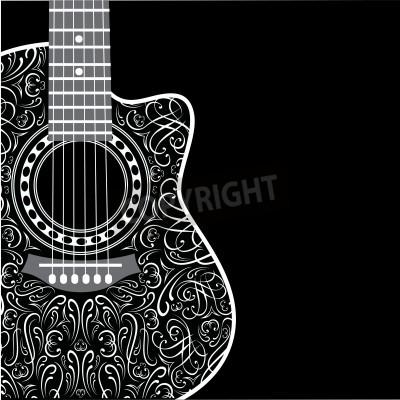 Фотообои градиент фон с подстриженными гитарой и стильным орнаментом