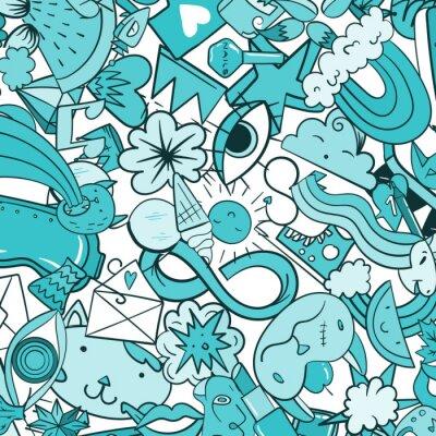 Фотообои Граффити шаблон с городской образ жизни линии икон. Сумасшедший каракули абстрактный фон вектор. Модный линейный стиль коллажа с причудливыми элементами уличного искусства.