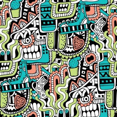 Фотообои Граффити бесшовных текстур с социальных средств массовой информации знаки и другие блестящие иконки. Векторная иллюстрация с обуви, телевизор, бутылка, еда, голова монстров, листья