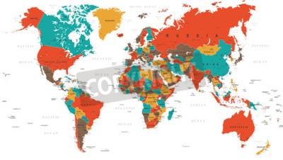 Фотообои Зеленый Красный Желтый Коричневый Карта мира - границы, страны и города - иллюстрация
