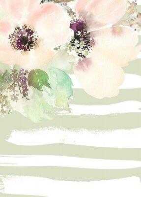 Фотообои Поздравительная открытка с цветами. Пастельные цвета. Ручной работы.