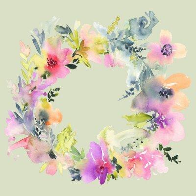 Фотообои Поздравительная открытка с цветами. Пастельные цвета. Ручной работы. Акварельная живопись. Свадьба, день рождения, День матери. Люкс для душа.