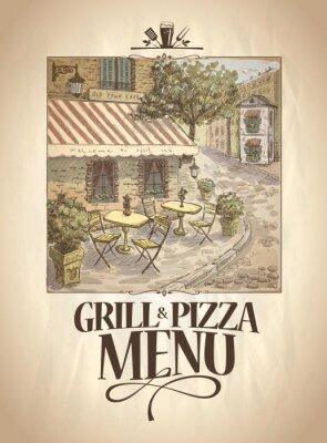 Фотообои Гриль и меню Пицца с графической иллюстрации уличного кафе.