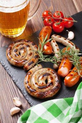 Фотообои Жареные сосиски и кружка пива