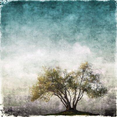 Фотообои Гранж пейзаж с одного дерева