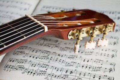 Фотообои Гитара бабка на музыкальных нот