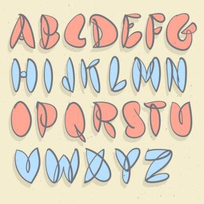 Фотообои Рисованной алфавита. Рука Матовый невынужденные пузырь алфавит.