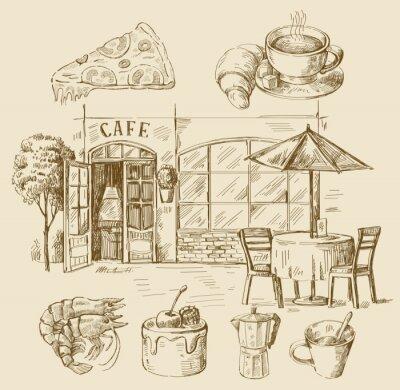 Фотообои рисованной кафе