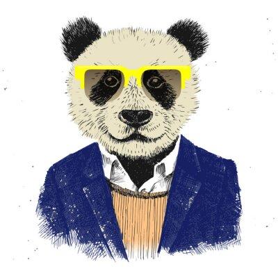 Фотообои Hand drawn dressed up hipster panda
