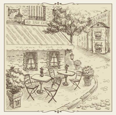 Фотообои Ручной обращается иллюстрации, уличное кафе в старом городе.