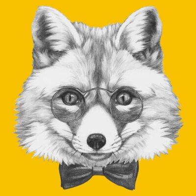 Фотообои Ручной обращается портрет Fox в очках. Вектор изолированных элементов.