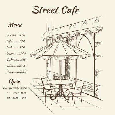 Фотообои Hand drawn street cafe background