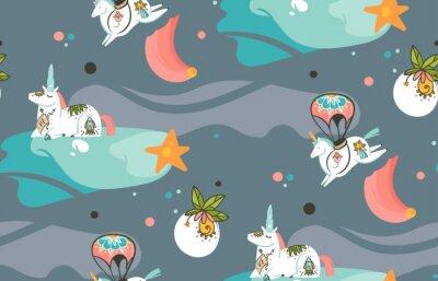 Фотообои Рисованной вектор абстрактных графических творческих иллюстраций мультяшный бесшовные модели с космонавтами единороги со старой школьной татуировки, кометы и планеты в космосе, изолированных на темном