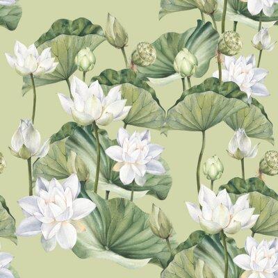 Фотообои Hand drawn watercolor seamless pattern with white lotus flowers and lotus leaf